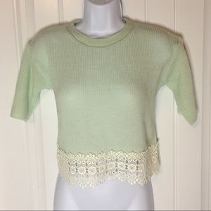 Topshop | Mint Lace Crop Top